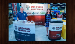 Tradeshow Booth Concept & Design (Wave Backdrop, Podium, Flag Banner Stand, Table, Promo Materials)