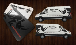Rhino Linings Spot UV Business Cards + Vehicle Graphics Design